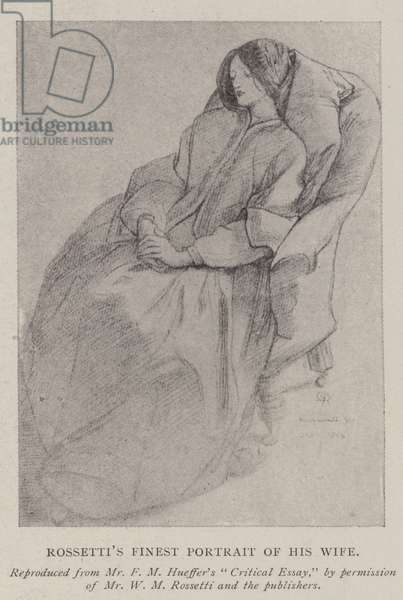Rossetti's Finest Portrait of his Wife (engraving)