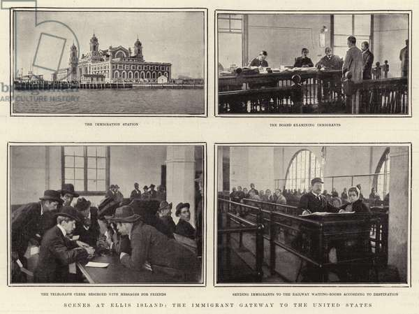 Scenes at Ellis Island (b/w photo)