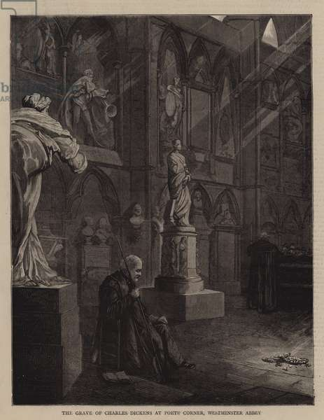 The Grave of Charles Dickens at Poets' Corner, Westminster Abbey (engraving)