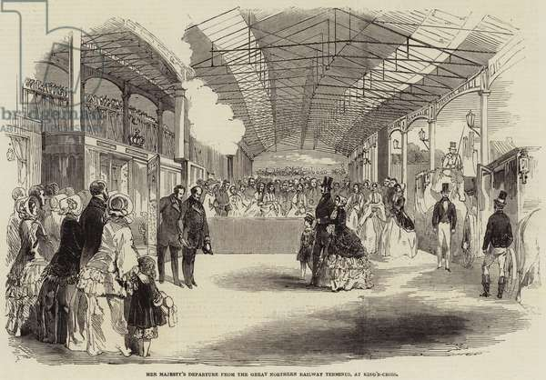 Her Majesty's Departure from the Great Northern Railway Terminus, at King's-Cross (engraving)