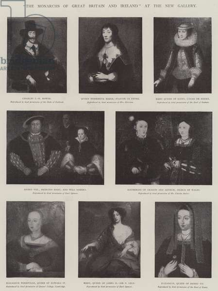 """""""The Monarchs of Great Britain and Ireland"""" at the New Gallery (litho)"""