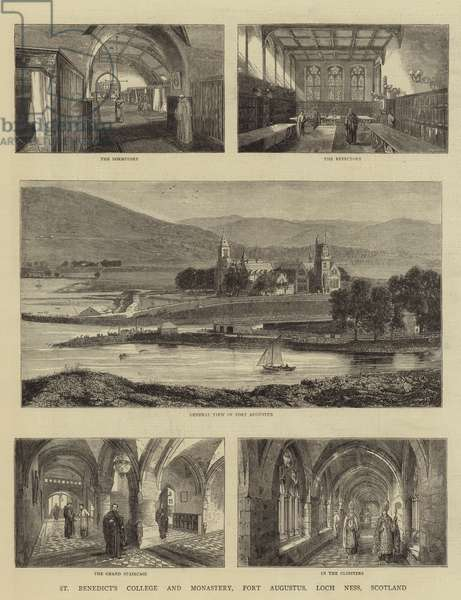 St Benedict's College and Monastery, Fort Augustus, Loch Ness, Scotland (engraving)