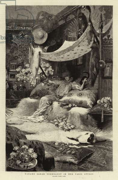 Madame Sarah Bernhardt in her Paris Studio (engraving)