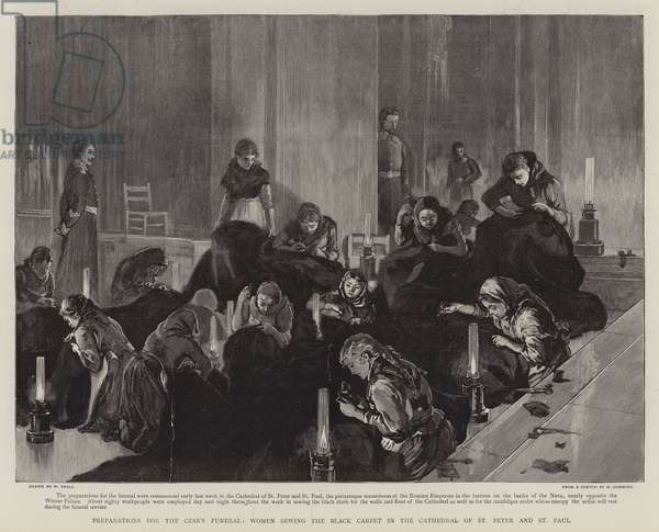 Preparations for the Czar's Funeral, Women sewing the Black Carpet in the Cathedral of St Peter and St Paul (engraving)