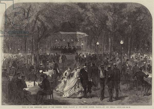 Band of the Grenadier Corps of the Burgher Guard playing in the Sofien Garten, Prague (engraving)
