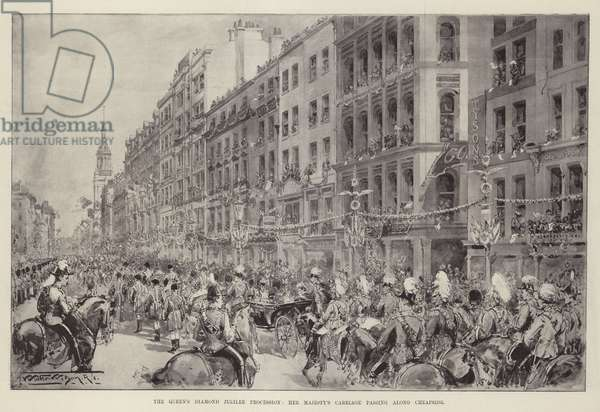 The Queen's Diamond Jubilee Procession, Her Majesty's Carriage passing along Cheapside (litho)