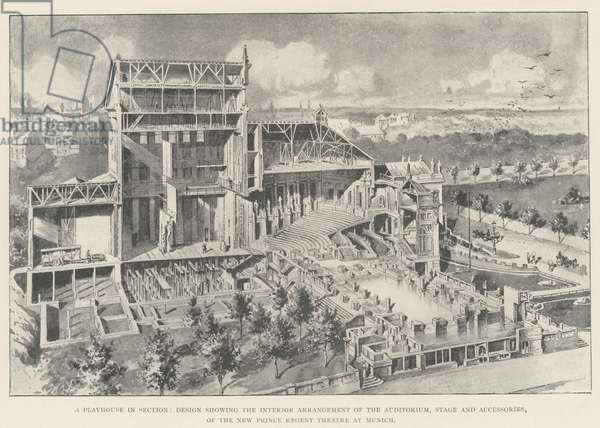 A Playhouse in Section, Design showing the Interior Arrangement of the Auditorium, Stage and Accessories, of the New Prince Regent Theatre at Munich (engraving)