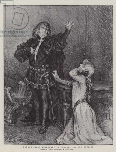 "Madame Sarah Bernhardt in ""Hamlet"" at the Adelphi (litho)"