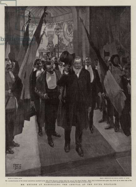 Mr Kruger at Marseilles, the Arrival at the Hotel Noailles (litho)