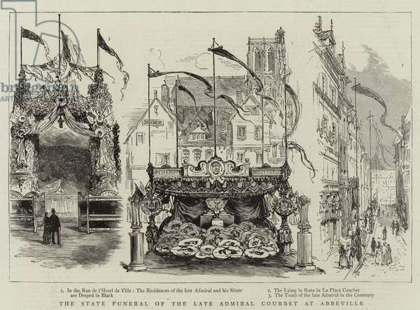 The State Funeral of the Late Admiral Courbet at Abbeville (engraving)