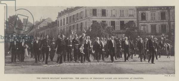 The French Military Manoeuvres, the Arrival of President Loubet and Ministers at Chartres (b/w photo)