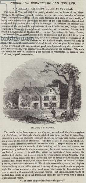 Sir Walter Raleigh's House at Youghal (engraving)