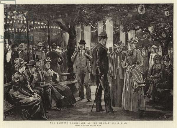 The Evening Promenade at the German Exhibition (engraving)