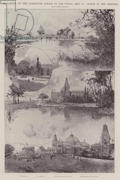 Dedication of the Alexandra Palace to the Public, 18 May, Scenes in the Grounds (litho)