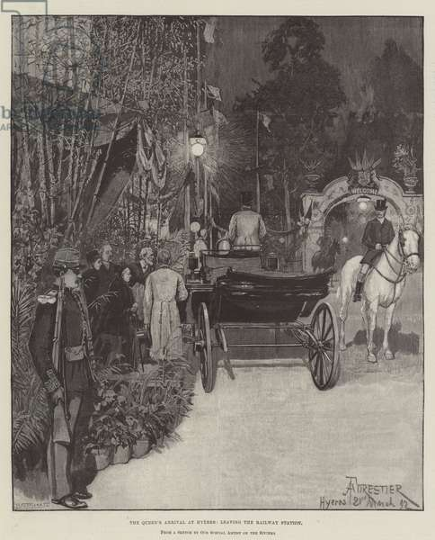 The Queen's Arrival at Hyeres, leaving the Railway Station (engraving)