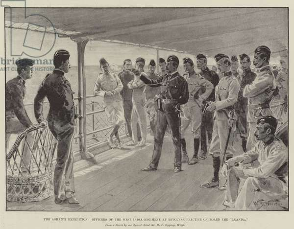 """The Ashanti Expedition, Officers of the West India Regiment at Revolver Practice on Board the """"Loanda"""" (litho)"""