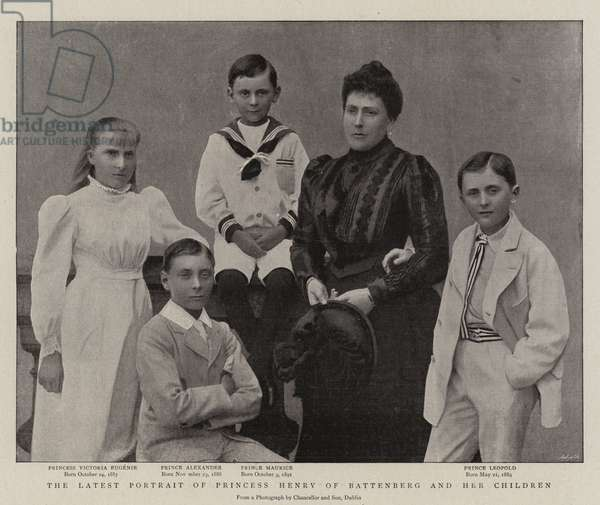 The Latest Portrait of Princess Henry of Battenberg and her Children (b/w photo)