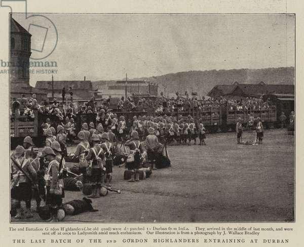 The Last Batch of the 2nd Gordon Highlanders entraining at Durban (b/w photo)