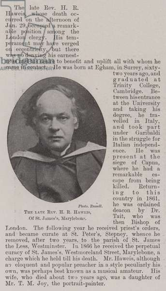 The late Reverend H R Haweis, of St James's, Marylebone (b/w photo)