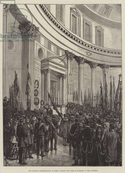 The Raphael Commemoration at Rome, visiting the Tomb of Raphael in the Pantheon (engraving)
