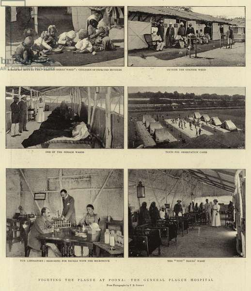 Fighting the Plague at Poona, the General Plague Hospital (b/w photo)