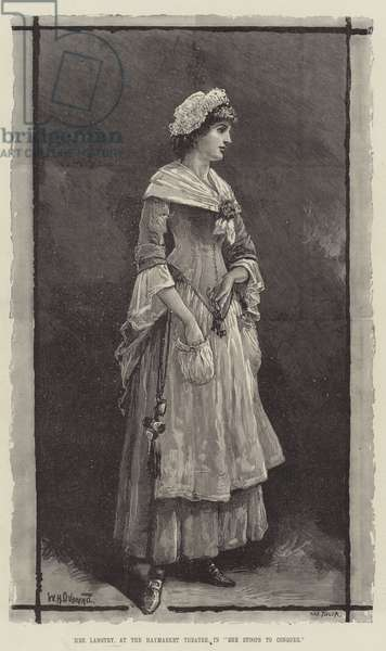 """Mrs Langtry, at the Haymarket Theatre, in """"She Stoops to Conquer"""" (engraving)"""