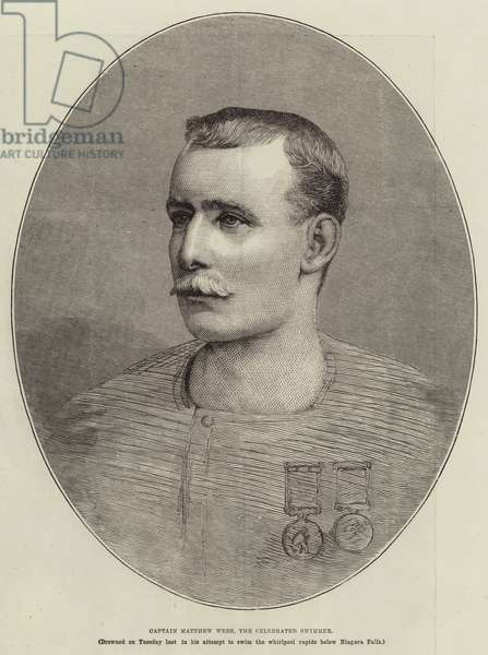 Captain Matthew Webb, the Celebrated Swimmer (engraving)