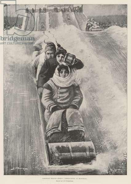 Canadian Winter Sports, tobogganing at Montreal (engraving)