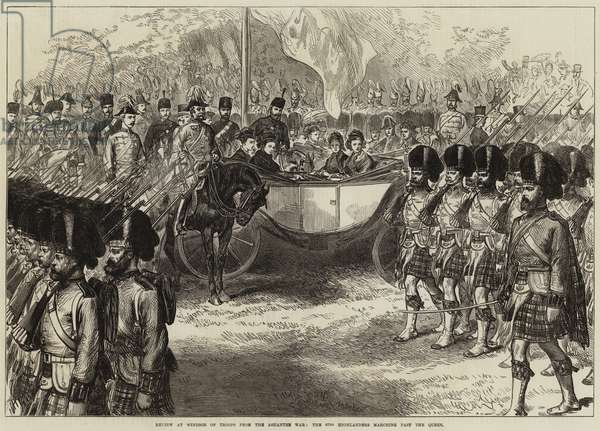 Review at Windsor of Troops from the Ashantee War, the 42nd Highlanders marching past the Queen (engraving)