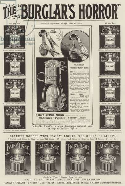 Advertisement, Clarke's Pyramid and Fairy Light (engraving)