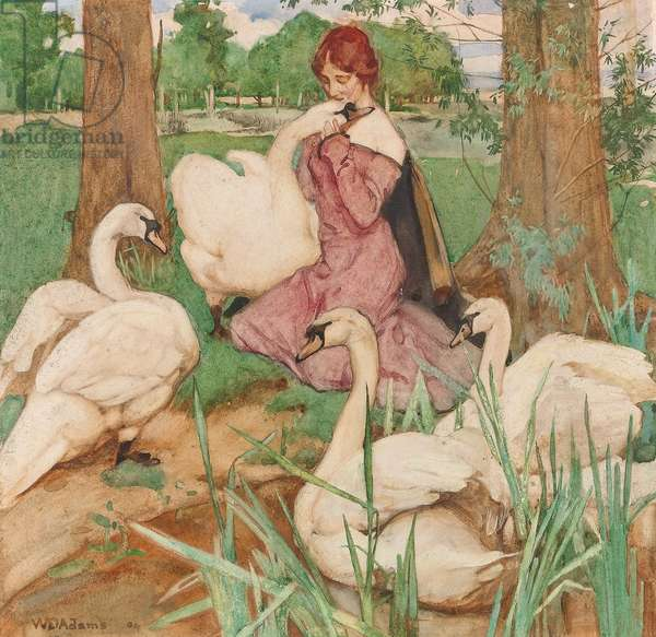 Leda and the Swan, 1904 (w/c on paper)