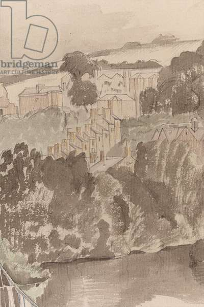The River at Bures, Suffolk, c.1935 (pencil & w/c on paper)