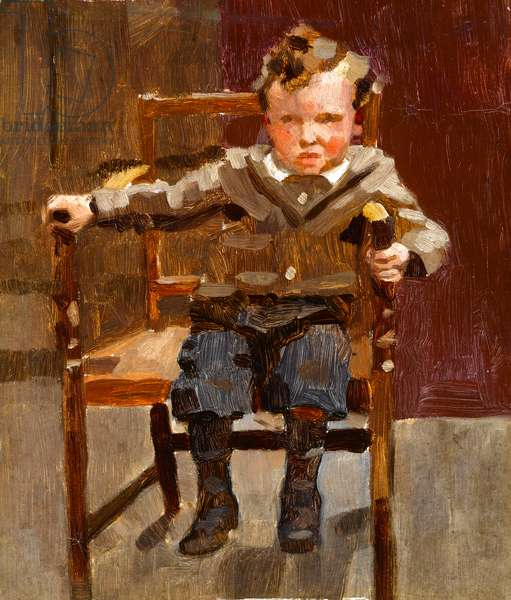 Portrait of a young boy seated to one side of an oak carver, c.1910 (oil on panel)