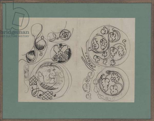 Design for a plate, c.1920 (black chalk on paper)