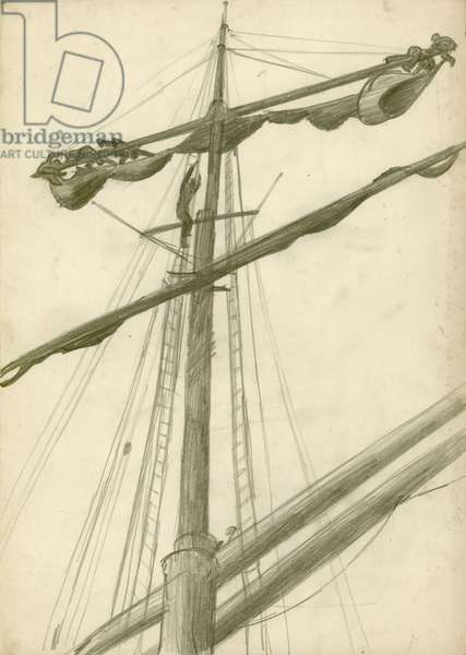 Three sailors working on the mast of the Grace Harwar, c.1930 (pencil on paper)