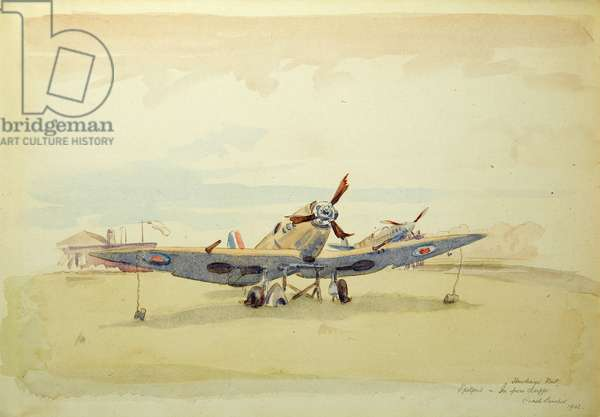 Spitfire, in from Dieppe, crash landed, 1942 (w/c on paper)