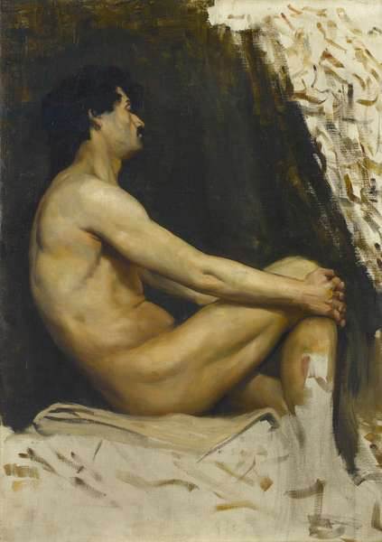 Study of a male nude, 1890s (oil on canvas)