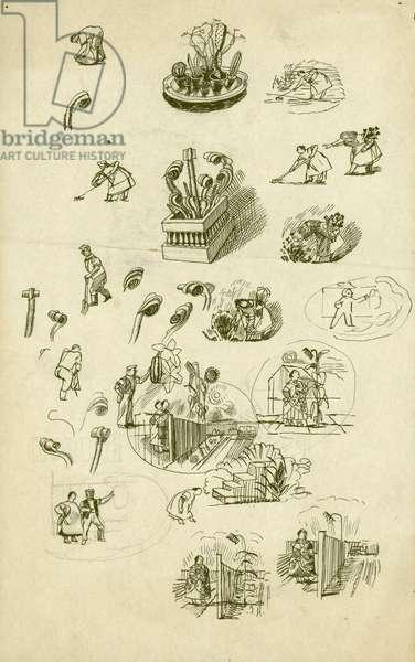 Vignettes for Gardener's Choice, c.1937 (pen & ink & pencil on paper)