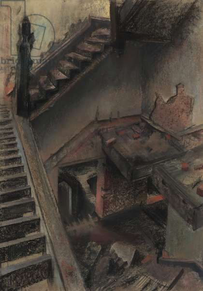 Stairwell of a derelict house, c.1968 (pastel on paper)