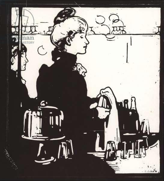 Barmaid (Any Bar), 1898 (woodcut)