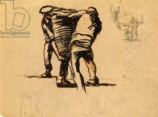 Men carrying a basket, study for fruit pickers, 1914 (pencil, red crayon and black ink)