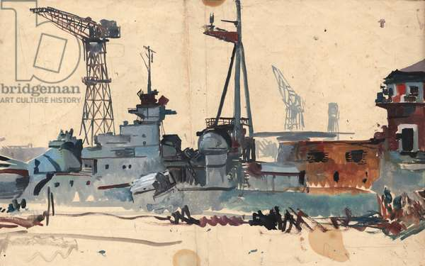 Study for The Hipper at Kiel, c.1945 (w/c on paper)