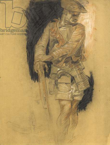 Man with Crossbow, c.1927 (black, white & brown chalk over a lithographic base)