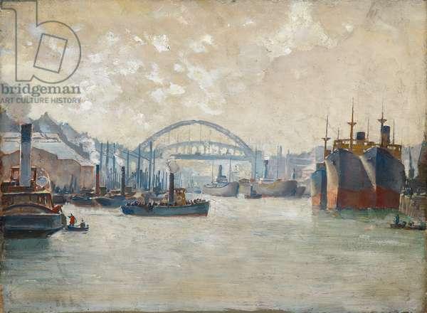 Wear Bridge Sunderland, c.1930 (oil on panel)