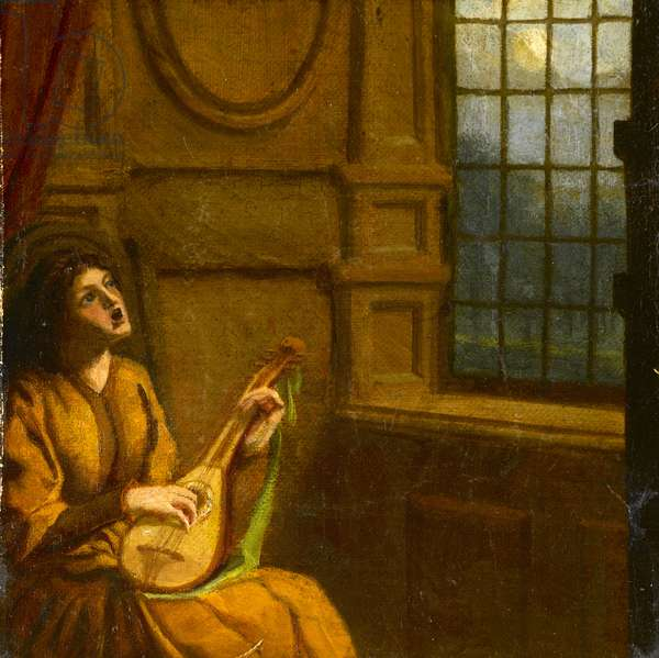 Young girl playing lute by the window, c.1920 (w/c on paper)