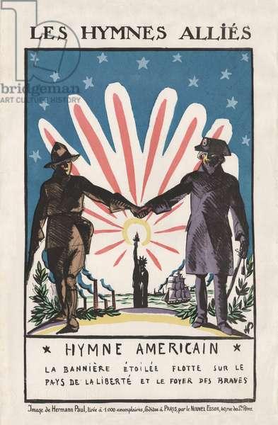 Les Hymnes Allies, 1917 (colour litho)