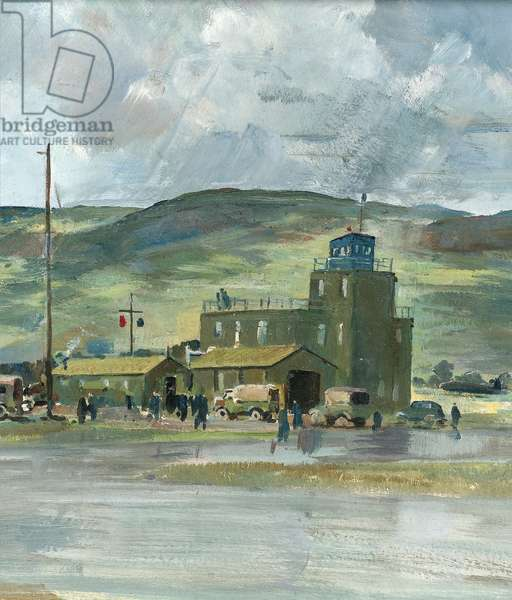 Study for Coastal Operational Training Unit, Limavady, Northern Ireland, c.1942 (oil on paper) (detail of 244533)