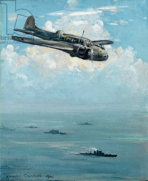 Airplane above the North Sea, accompanying a fleet of warboats, 1941 (oil on board)