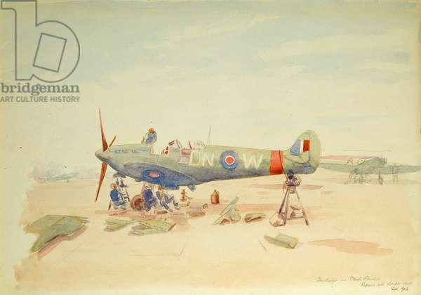Crash landed, repairs after Dieppe raid, September 1942 (w/c on paper)