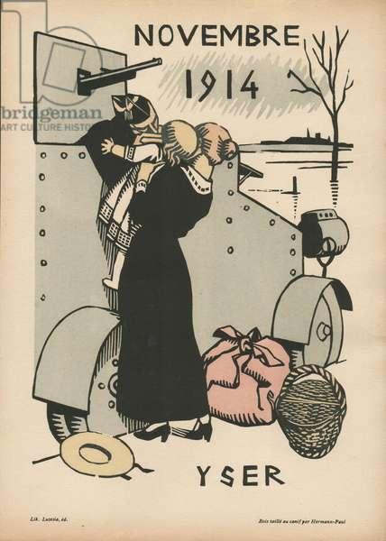 Calendrier de la Guerre (1ère année – août 1914-juillet 1915) (colour woodcut)